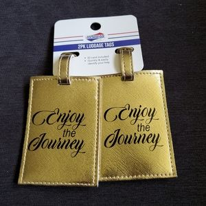American Tourister 2 Pack Luggage Name Tags Gold |